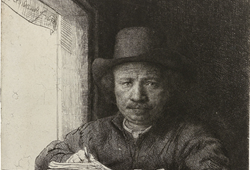 Title Self-Portrait Etching at a Window